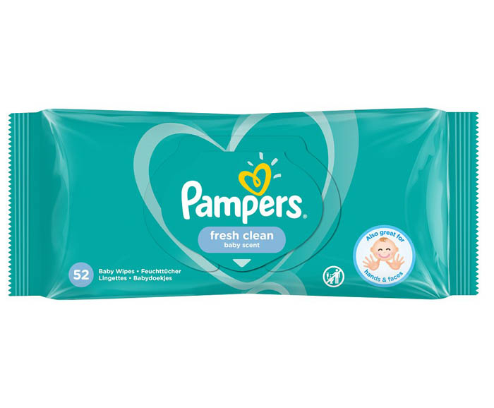 Бебешки влажни кърпички Pampers Fresh Clean 52 бр